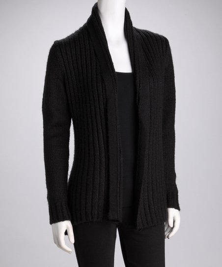 Black Soft-Ribbed Cardigan