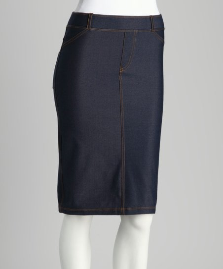 Blue Faux Denim Pencil Skirt