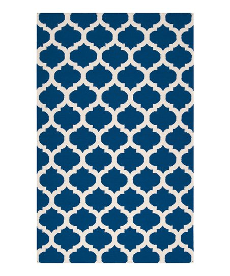 Royal Blue & Ivory Frontier Wool Rug