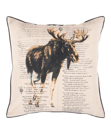 Khaki Moose Throw Pillow