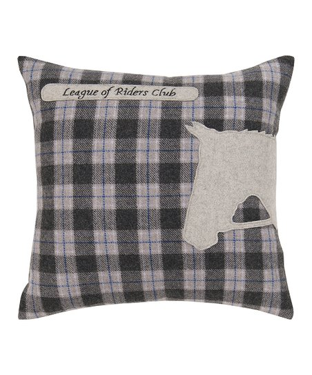 Plaid & White Horse Pillow