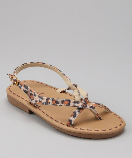 Brown & Tan Leopard Strappy Sandal