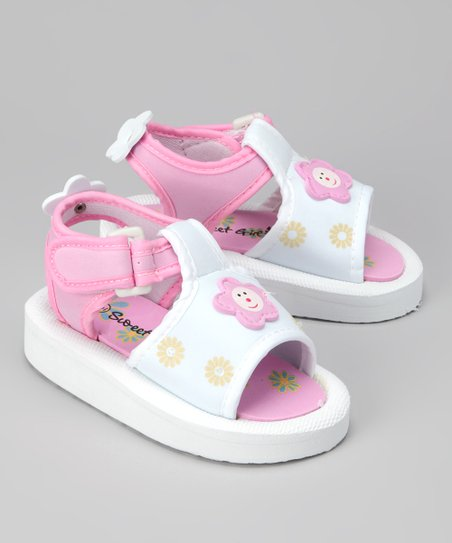 White & Pink Happy Flower Sandal