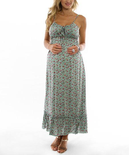 PinkBlush Mint Green Floral Maternity Dress