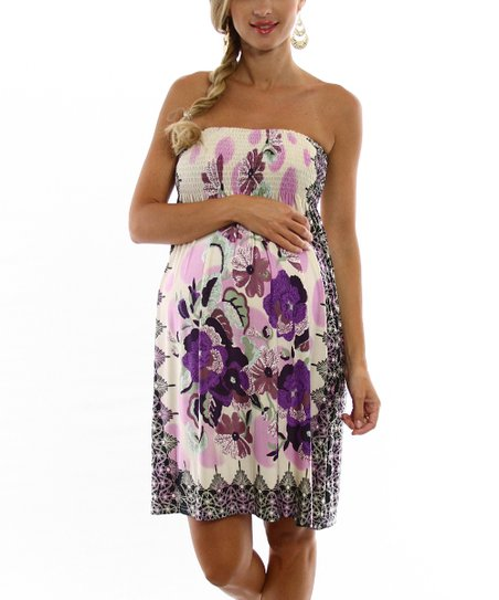 Cream & Purple Floral Maternity Strapless Dress - Women