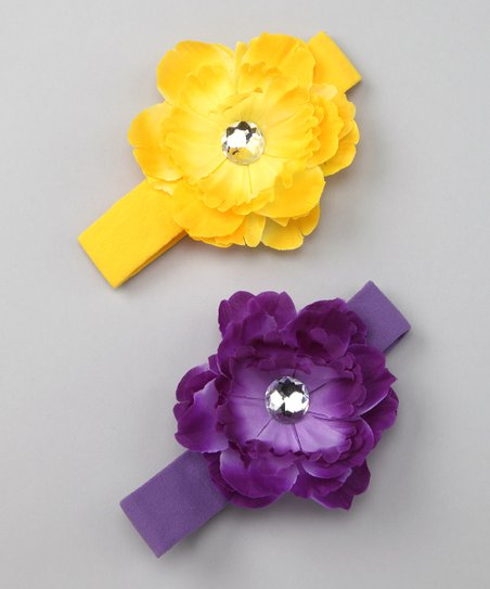 Yellow & Purple Peony Headband Set