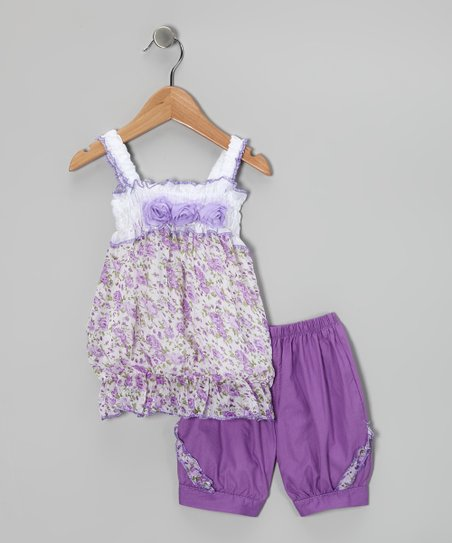Sweet Bluette Purple Floral Tunic &amp; Shorts - Girls
