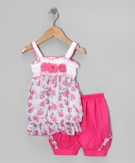 Pink Rose Tunic & Shorts - Girls