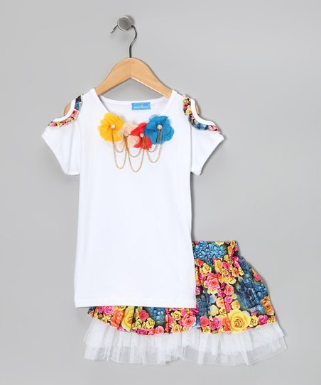 White Pearl Rosette Tee & Skirt - Girls