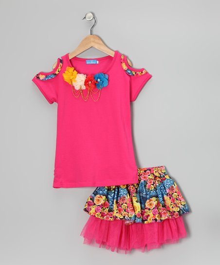 Pink Pearl Rosette Tee & Skirt - Girls