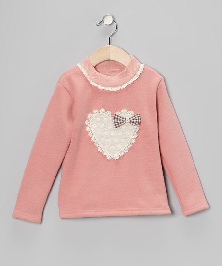 Pink Lace Heart Sweatshirt - Toddler &amp; Girls