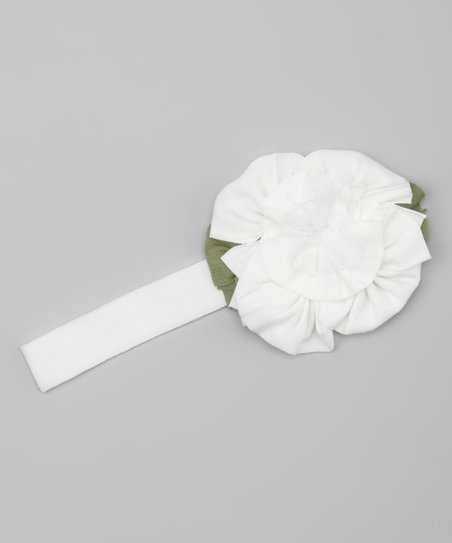 White & Green Flower Headband