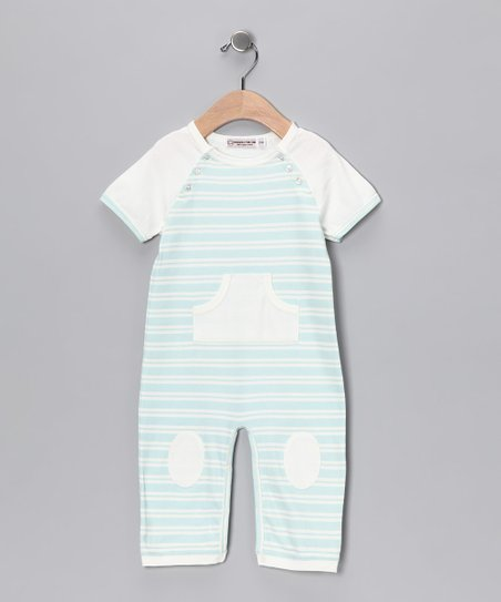 Blue & Cream Stripe Little Boy Blue Playsuit - Infant