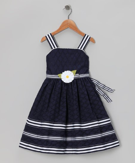 Navy Eyelet Dress - Infant, Toddler & Girls