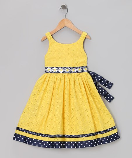 Yellow &amp; Navy Eyelet Daisy Dress - Infant