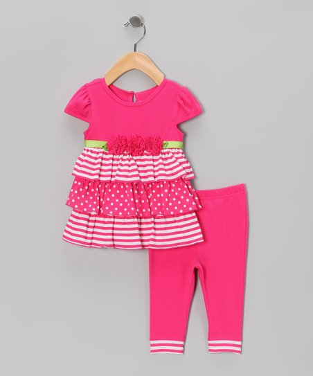 Pink Rosette Dress & Leggings - Infant