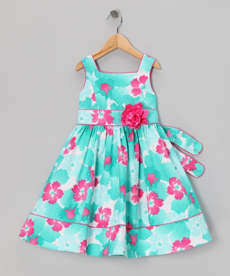 Blue & Pink Floral Dress - Girls Plus