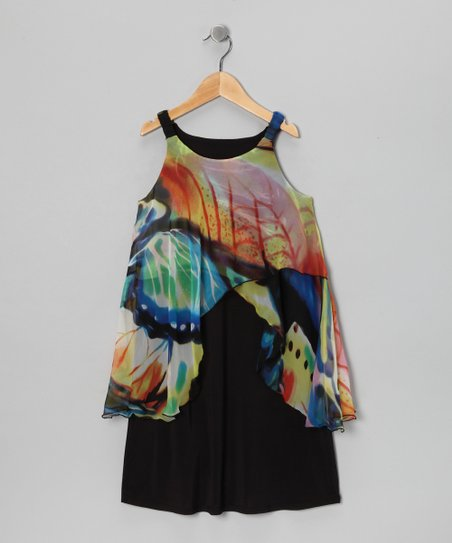 Black Rainbow Butterfly Dress - Girls