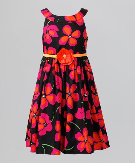 Black & Pink Bloom Dress - Girls