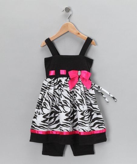Black & Pink Zebra Tunic & Leggings - Infant