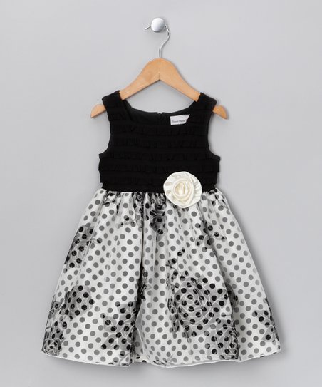Black & Ivory Rose Dress - Toddler & Girls