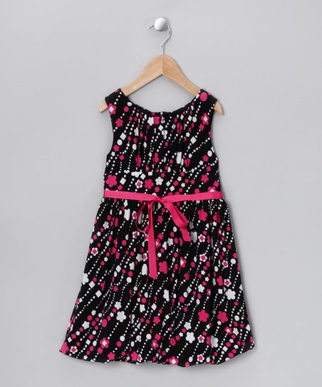 Pink & Black Floral Dress - Toddler