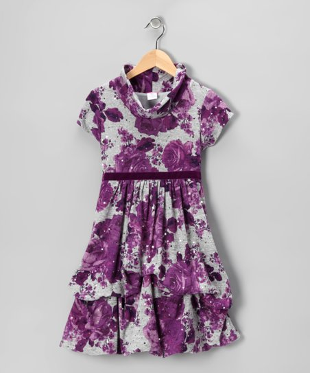 Purple &amp; Gray Floral Pick-Up Dress - Toddler &amp; Girls