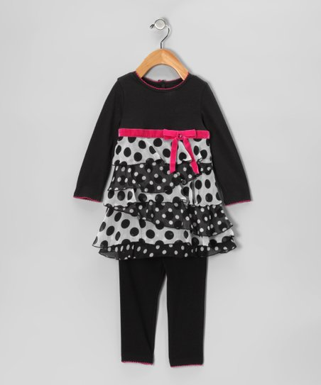 Black &amp; White Polka Dot Dress &amp; Leggings - Infant
