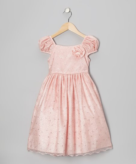 Pink Metallic Mesh Dress - Infant & Girls