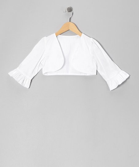 White Dupioni Bolero - Toddler & Girls