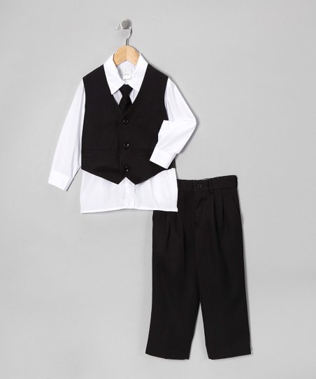 Sweet Kids Black Four-Piece Suit - Toddler & Boys