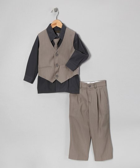 Sweet Kids Gray Four-Piece Suit - Boys