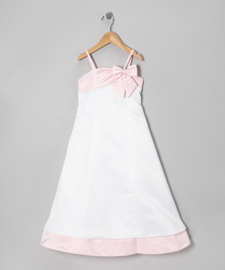 White & Pink Bow Satin A-Line Dress - Girls