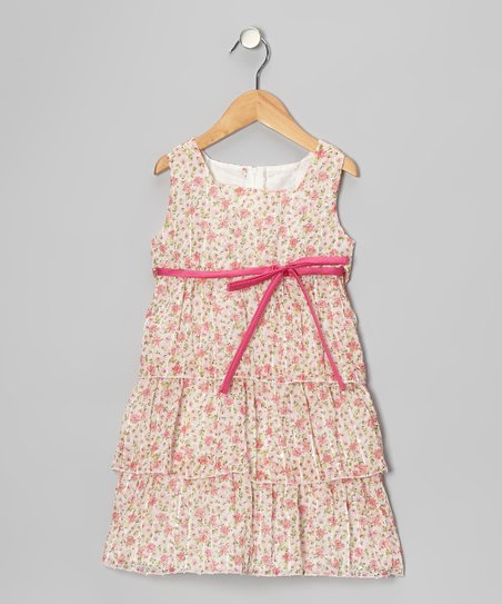 Pink Floral Chiffon Sequin Dress - Toddler & Girls