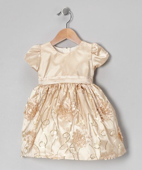 Light Gold Floral Taffeta Dress - Infant