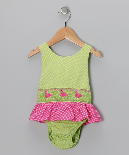 Green Flamingo Sunsuit - Toddler & Girls