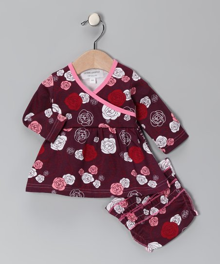 Red A Rose Is a Rose Organic Sweetheart Dress & Diaper Cover