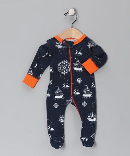 Navy &amp; Orange Galleons Away Organic Footie