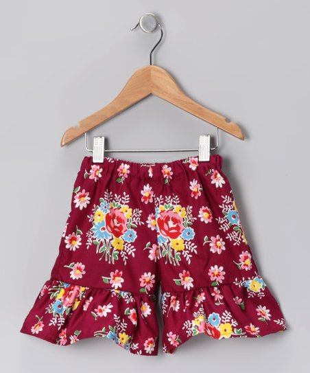 Maroon Floral Bouquet Shorts - Toddler & Girls