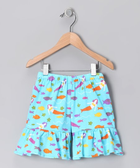 Turquoise Mermaid Society Shorts - Infant, Toddler &amp; Girls