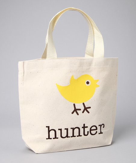 Natural & Yellow Chick Personalized Tote