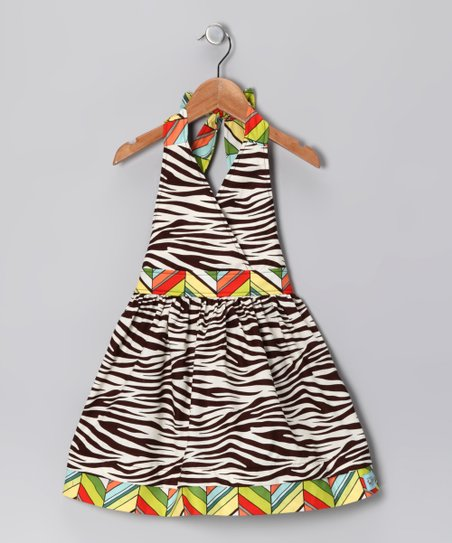 Brown Zebra Halter Dress - Infant, Toddler & Girls
