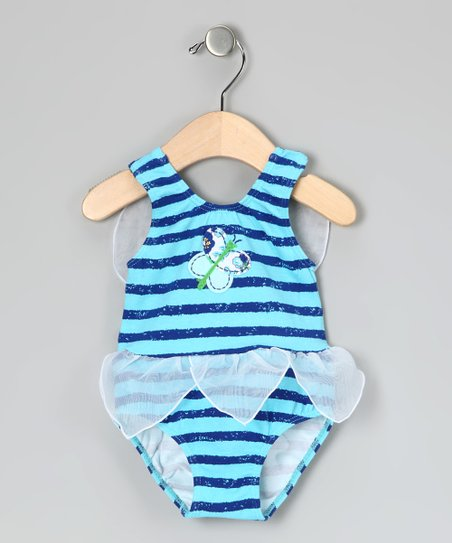 Blue Stripe Butterfly One-Piece - Infant &amp; Toddler