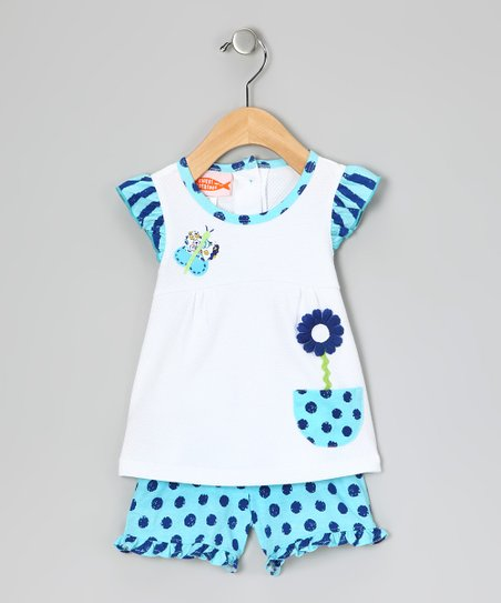 White & Blue Daisy Top & Ruffle Shorts - Girls