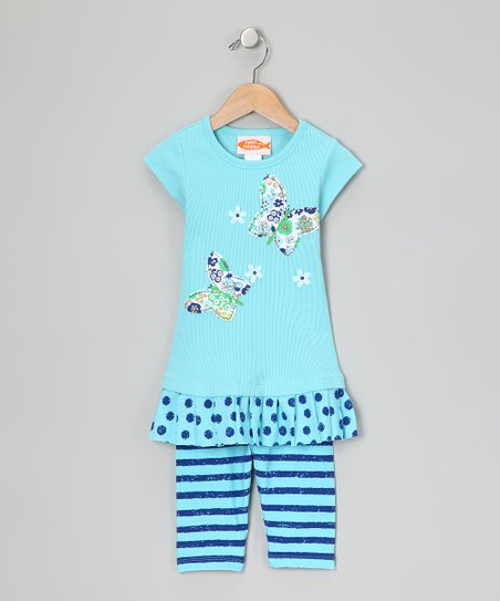 Blue Drop-Waist Dress & Leggings - Girls