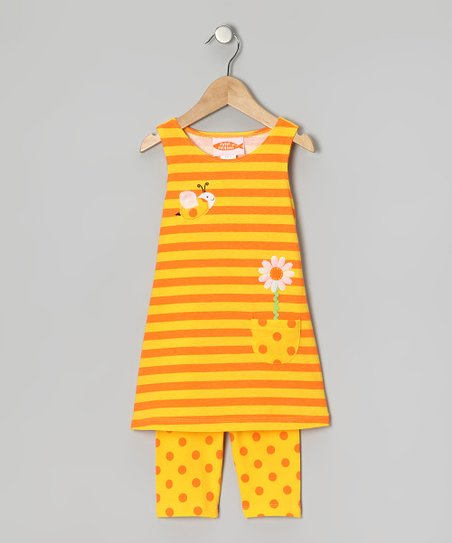 Yellow Stripe Dress & Capri Leggings - Toddler & Girls