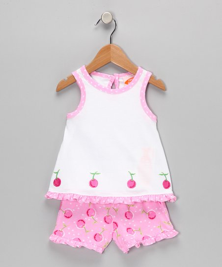 White Cherry Top & Pink Shorts - Infant & Girls