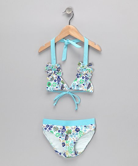 Blue Bow Bikini - Infant, Toddler & Girls