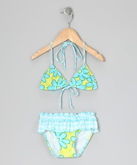Aqua Floral Skirted Bikini - Infant