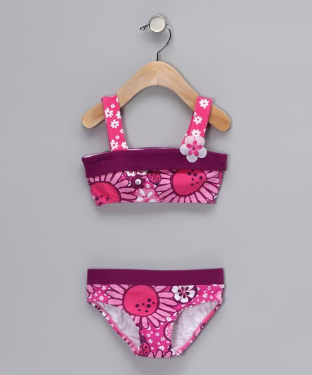 Hot Pink Bloom Bikini - Infant, Toddler & Girls